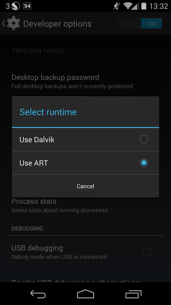 Dalvik to ART switch