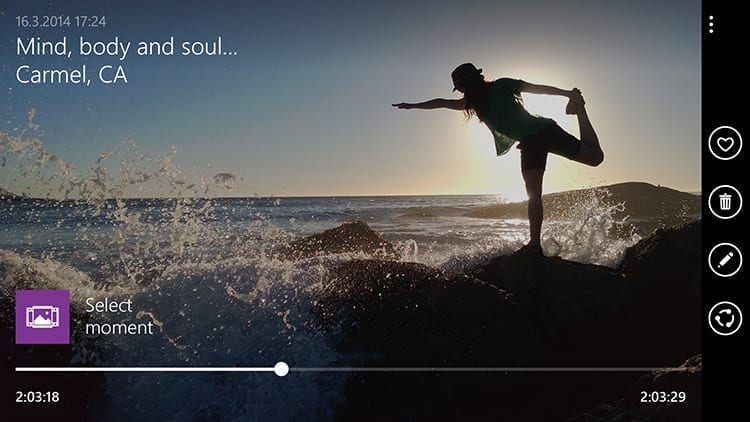 New Lumia Camera app - pick a moment from video