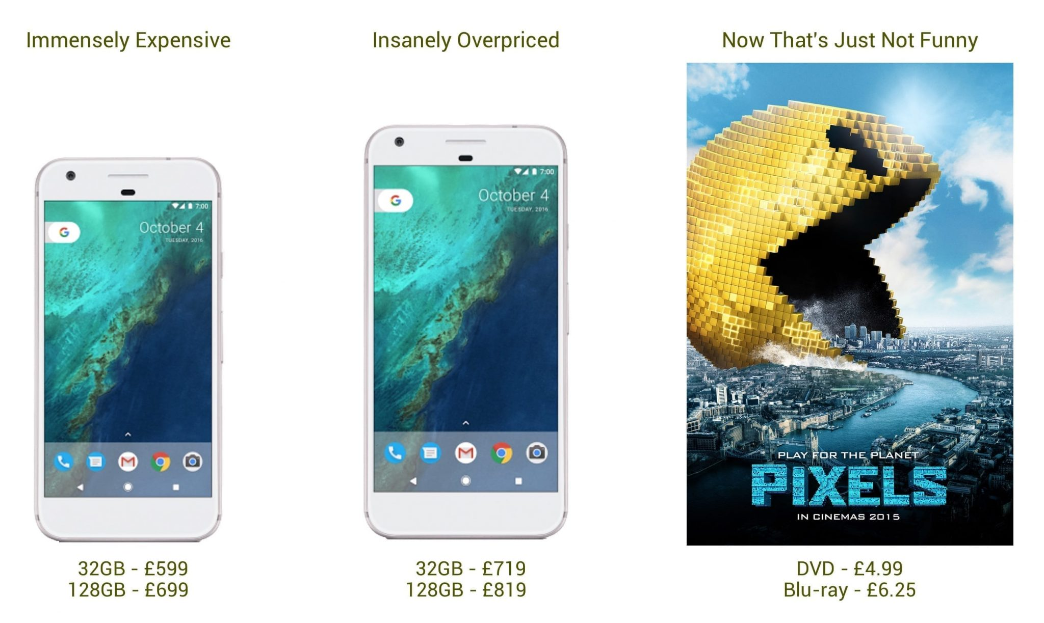 Pixels line-up (humour)