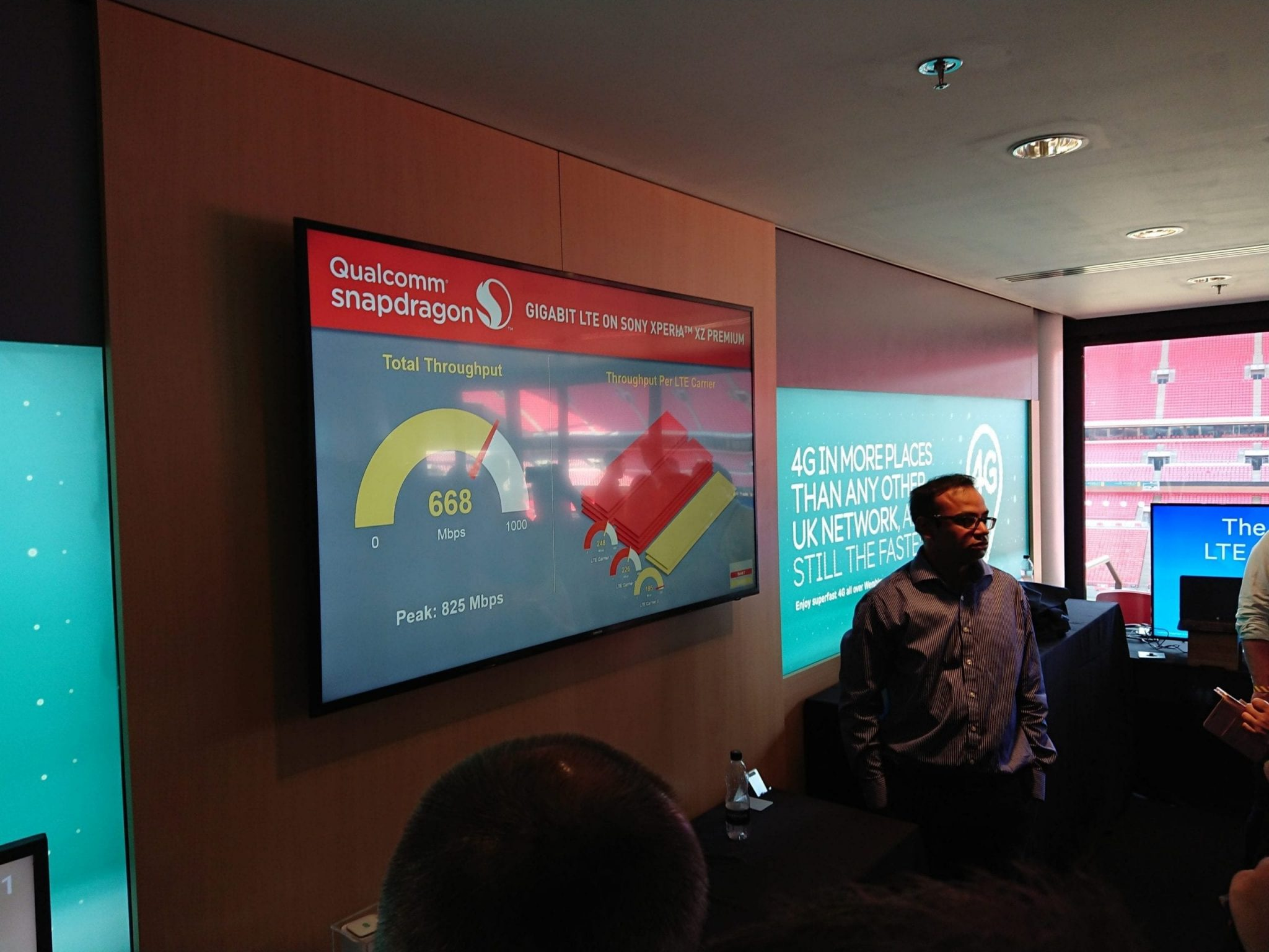 EE, Qualcomm and Sony demonstrate Gigabit LTE on the XZ Premium in London's Wembley Stadium
