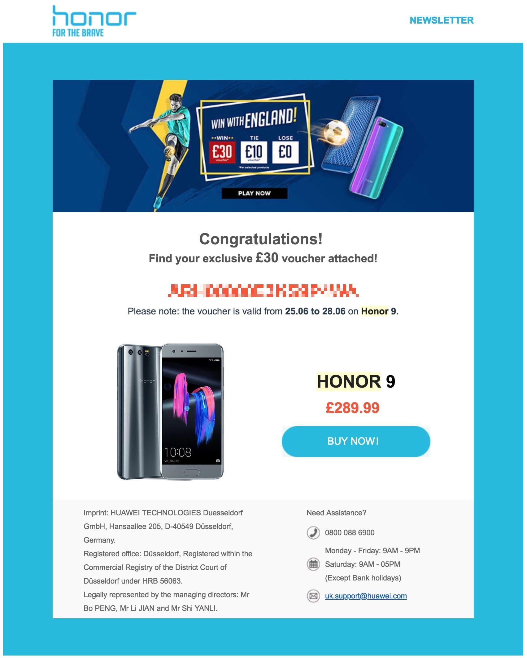 Honor World Cup voucher